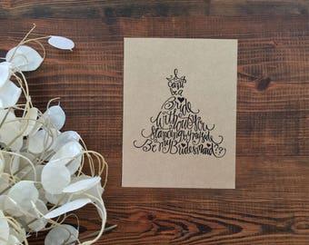 Bridesmaid Proposal Card | Handlettered Wedding Card | Be My Bridesmaid? Card | Handmade Kraft Paper Card
