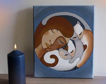 "Painting ""Love cats"" acrylic"