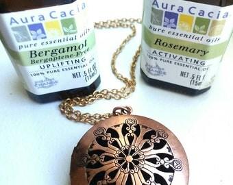 Copper color diffuser necklace