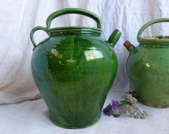 Antique french green glaze gargoulette with lid. French antique green glaze storage pottery jug. French country green glaze farm pottery.
