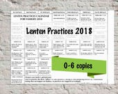 Lenten Practices Calendar For Family Use (Licensed up to 6 copies)