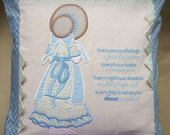 Sunbonnet Sue applique design cushion