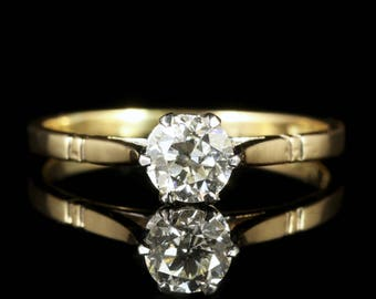Antique Edwardian  Diamond Solitaire Ring 18ct Gold Circa 1915 Engagement Ring
