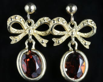 Garnet Drop Gold Bow Top Earrings 9ct Gold