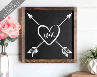 "5 Anniversary Wood, Wood Arrow Decor, Modern Farmhouse Decor, Personalized Girlfriend Gift, Home Decor, Valentines Day Decor, 12"" x 12"""