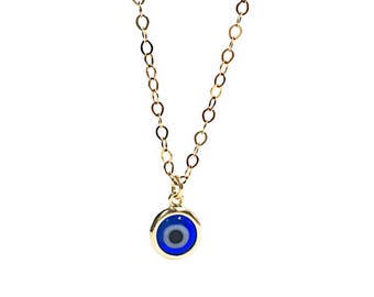 Evil Eye Necklace Blue Evil Eye Necklace Gold Evil Eye Pendant Necklace  Gift Bridesmaids Jewelry Wedding First Communion Gift Graduation