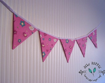 Baby Girl Flag Bunting, Nursery Flags, Pink Bird Bunting, Photo Prop, Party Decoration, Wall Decor, Nursery Decor, Birthday Decoration