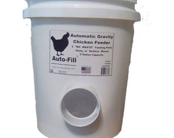 "NO  WASTE  Chicken / Duck Feeder - 5 Gallon / 45+ lb. Capacity - Hanging Gravity Feeder - 3"" Stay Dry"" Feeding Ports - Made in USA"
