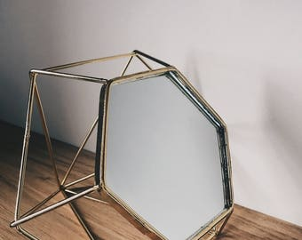 Small gold geometric standing mirror