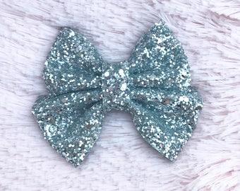 Silver Glitter Brynn Bow