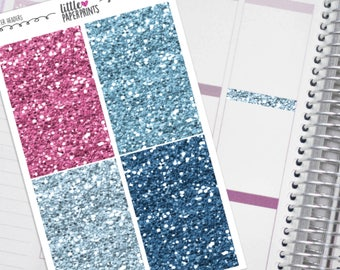 """32 Headers - """"What Makes You Happy"""" Glitter Series Stickers - Glitter Sparkle Header Planner Stickers"""