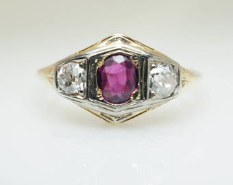 Vintage Art Deco Natural Ruby & Diamond Solitaire Ring 14k Yellow Gold