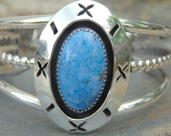 Vintage Native American Sterling Band Cuff with Denim Blue Stone in Shadow Box Center - 40 Grams