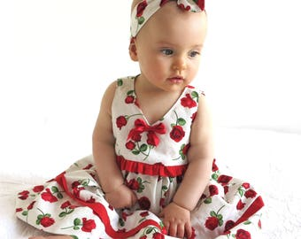 Baby girl Dress, Baby Special Occasion Dress, Baby party dress, Baby Christmas dress, Red rose baby dress. Size 3-6 months Ready to Ship
