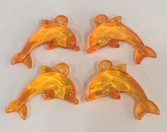 Orange Dolphin Beads-Dolphin Beads-Orange Beads-Animal Beads