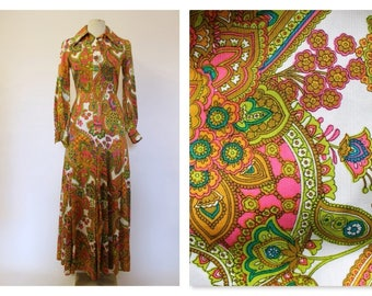 Amazing Psychedelic Print Early 70's Maxi Shirt Dress Small