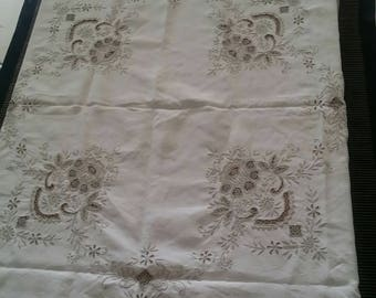 Beautiful Square Embroidered Cream/Linen Cotton Tablecloth