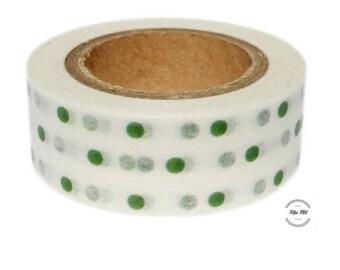 Washi Tape DOTS green