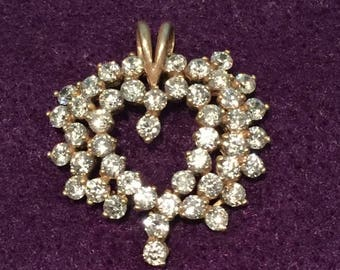 22%OFF Sterling Crystal Heart Pendant - CA 1970's - Item# PND225