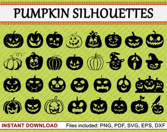 Pumpkin Silhouettes, Set of 31 Commercial Use Clipart, Pumpkin Clipart, Halloween Clipart, Pumpkin Face Carving, pdf png eps dxf svg files