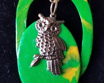 The Golden Owl Green Swirled Polymer Clay Pendant