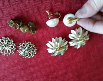 lot of 4 Clip On Earrings - Costume - Vintage Earrings