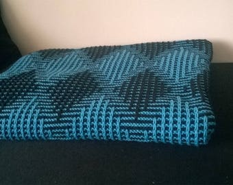 Hand-knitted wool Throw blanket / Hand-made favourite quilt in effect colours