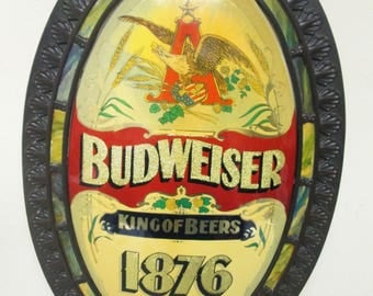 Vintage Budweiser King of Beers St. Louis 1876 Plastic Sign Anheuser Busch Rare