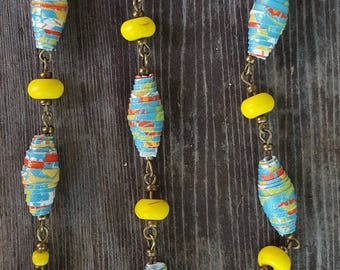Colorful Glitter Paper Bead Necklace with Yellow Vintage Ceramic Beads, Multi-colored Paper Tube Beads, Glass Brass Beads, Chain Necklace