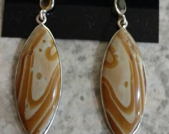Picture Jasper and Citrine Charm Earrings