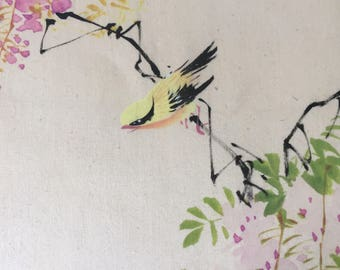 Vintage bird picture, beautiful small Oriental watercolour of a tiny yellow bird and pink blossom, hand painted bird small picture