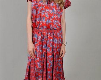 Vintage 1980's Diane Freis Red Floral V-Neck Midi Dress   S8
