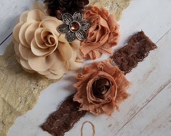 Taupe Brown and customTan Wedding Garter set,Brown custom Tan and Taupe Garter Set with jeweled Accent,Taupe Wedding Garters,Wedding Garters