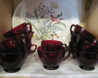 Anchor Hocking Royal Ruby Punch Cups-Set Of 6 - Item #1393