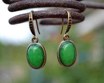Green aventurine bronze earrings, Aventurine earrings, Aventurine bronze earrings, Green aventurine earrings, Aventurine drop earrings