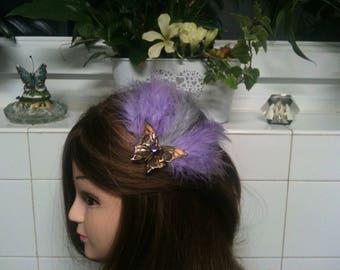 HeAdband shabby bronze purple feather,cristal Swarovski,AMETHYSTE,butterflye/serre tete Shabby, plume mauve,pierre Amethyste et Agate