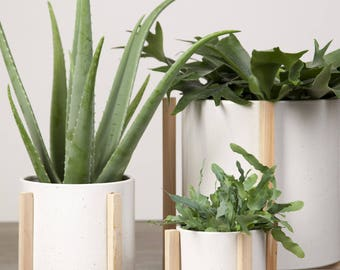 Textured White Ceramic Planter with stand