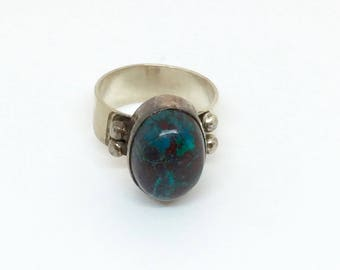 Silver and turquoise ring size 10-11 handmade jewelry semi-precious stone wide band