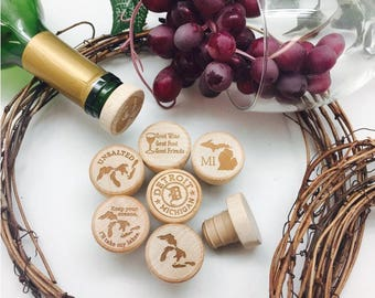 Custom Engraved Wine Stoppers : Michigan Addition