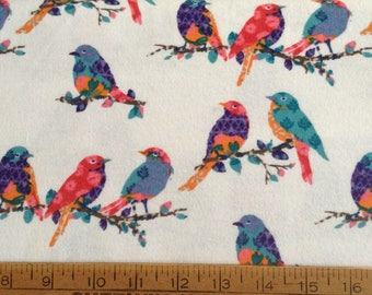 Colorful birds on branches/white background flannel pajama pant