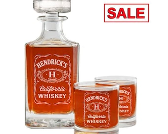 Whiskey Decanter, Personalized Whiskey Decanter Set, Whiskey Glasses, Engraved Whiskey Decanter, Groomsmen Gift