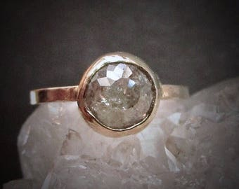 Raw Diamond Engagement Ring, Unique Rose Cut Diamond Ring, 14k Gold Bezel setting, Conflict Free, Handmade To Order