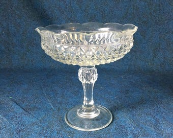 Vintage Indiana Diamond Point Candleholder Compote