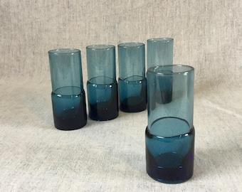 Vintage Cobalt Blue Double Shot Glasses, Set of 5