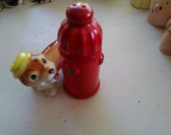 Norcrest Dog and Fire Hydrant  Salt and Pepper Shakers