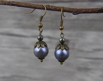 Pearl Earrings BOHO Earrings Water Pearl Earring Dangle Boho earrings Pyrite earrings Chic  Earrings real pearl Jewelry ED-056