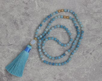blue agate necklace Opal pendent necklace Long tassel necklace Matt blue necklace gold beads necklace Tassel necklace NL-056