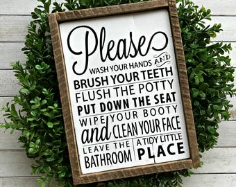 IN STOCK | Wash Your Hands Brush Your Teeth Flush the Potty | Kids Bathroom Wood Sign | Pallet Sign | Rustic | Farmhouse | Kids Bathroom