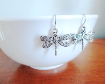 Dragonfly Earrings, Stainless Steel Earrings, Insect Earrings, Bug Earrings, Pretty Dragonfly Jewelry, Simple Earrings, Earrings under 20