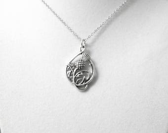 Silver Thistle Necklace, Thistle Pendant, Scottish Thistle Necklace, Celtic Thistle Pendant, Necklace under 20